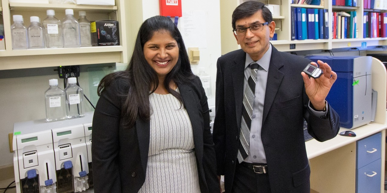 Graduate student Mahalakshmi Kumaran (left) and professor Sambasivarao Damaraju led a team that discovered a new genetic marker linked with a 40 per cent higher risk of breast cancer in premenopausal Caucasian women. (Photo: Jordan Carson)