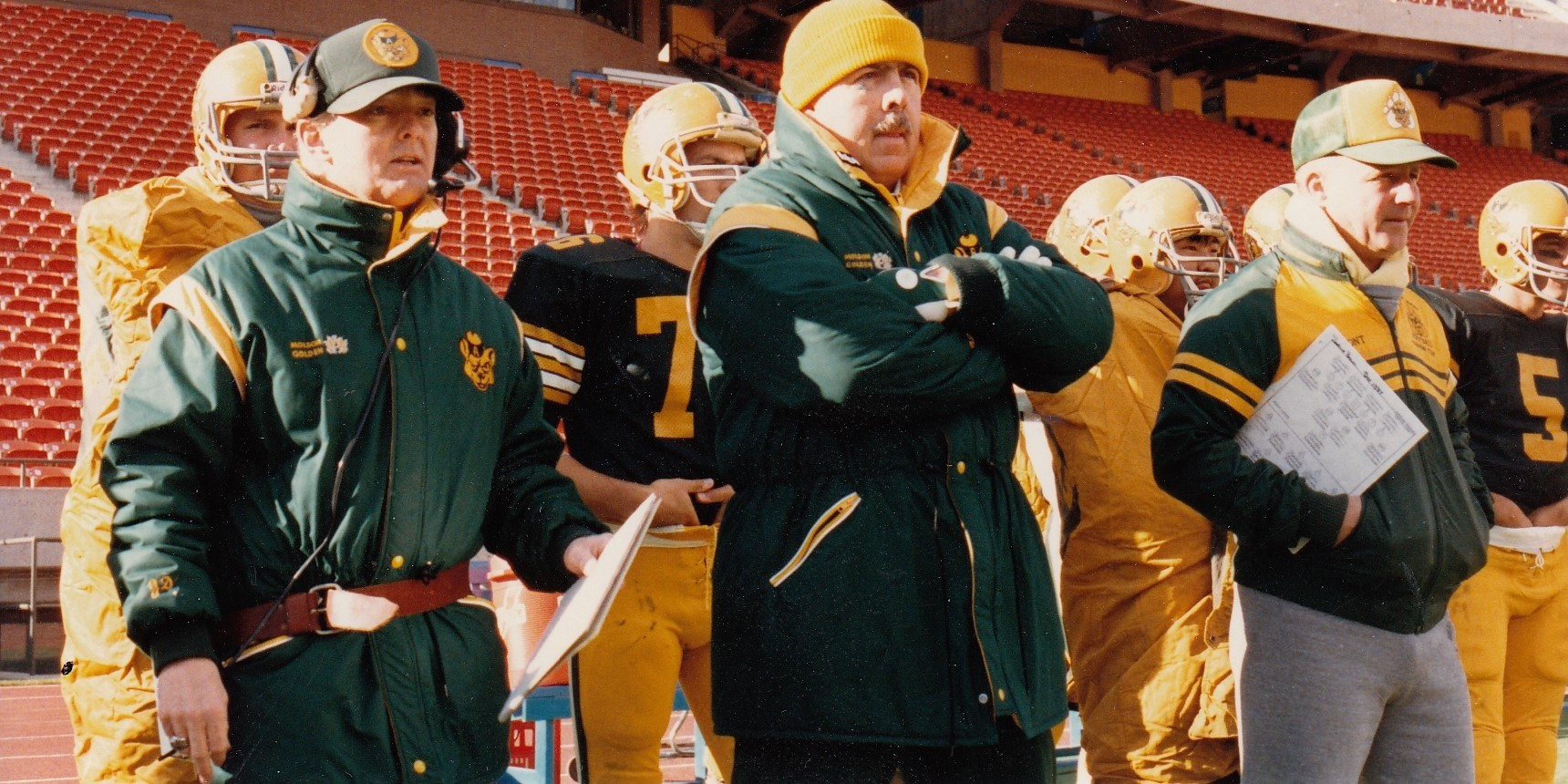Jim Donlevy (second left) coached the U of A Golden Bears football team for 18 seasons, winning two Vanier Cups and five Canada West championships. (Photo: Golden Bears and Pandas Athletics)