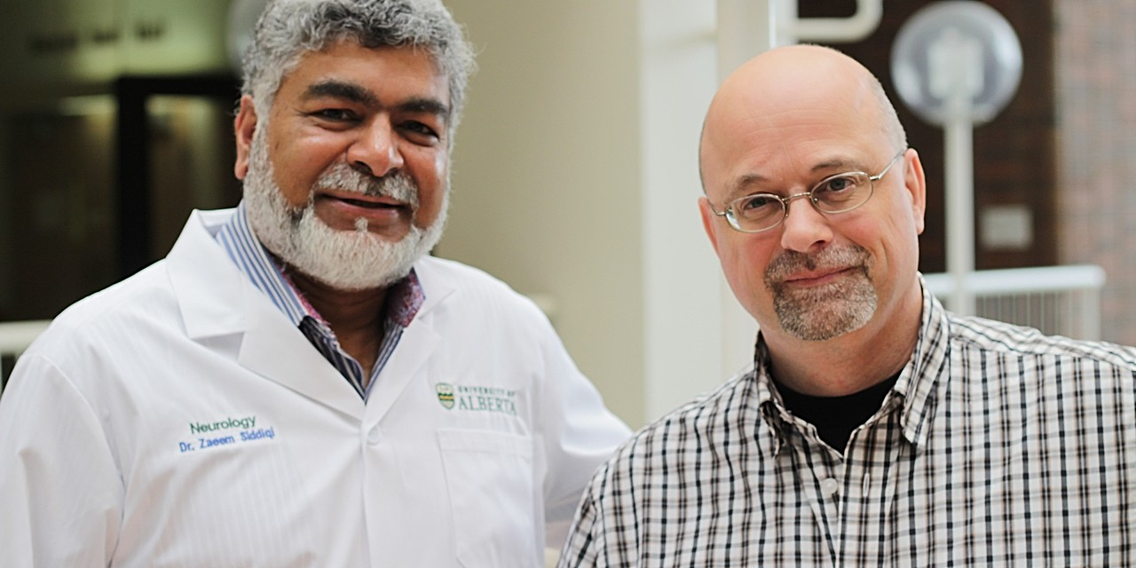 U of A researchers Zaeem Siddiqi (left) and Derrick Blackmore pinpointed 12 metabolic byproducts that only appear in people with myasthenia gravis—a biological marker that will improve diagnosis and allow for personalized treatments for the rare autoimmune disease. (Photo: Ryan O'Byrne)