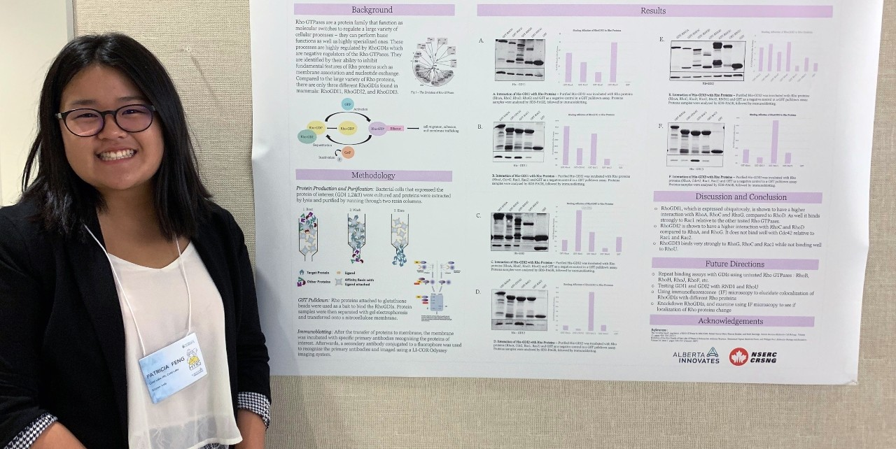 High-school student Patricia Feng with her poster presentation outlining breast cancer research she did in U of A's Heritage Youth Researcher Summer program. After learning more about medical genetics in the six-week program, Feng said she's interested in a career in health sciences. (Photo: Laura Vega)