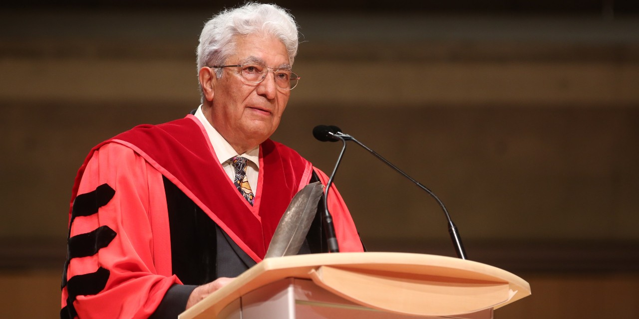 Justice Leonard Mandamin speaks after receiving an honorary doctorate from the Law Society of Ontario in 2018. Mandamin, who retired from the Federal Court of Canada last month, is now pursuing a master's degree in the U of A's Faculty of Native Studies. (Photo: Law Society of Ontario via Twitter)
