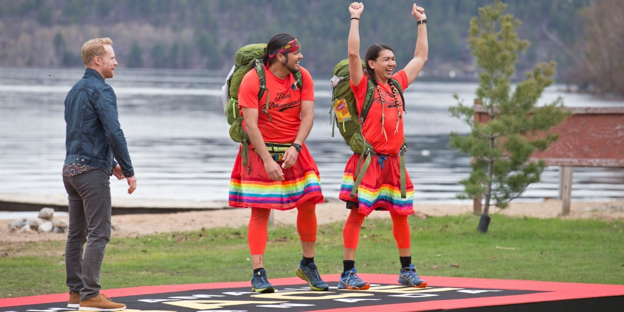 James Makokis (right) and his husband, Anthony Johnson, are announced as winners of The Amazing Race Canada last Tuesday. Makokis says he hopes to continue the cultural conversation they started as popular contestants on the show. (Photo: CTV/Bell Media)