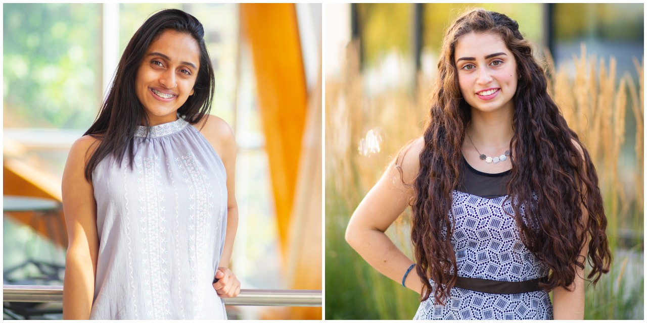 Science student Aakankshya Kharel (left) and engineering student Anna Mueller received Schulich Leader Scholarships, Canada's most lucrative entrance scholarship for undergraduate students in science, technology, engineering and mathematics. (Photos: Jordan Hon)