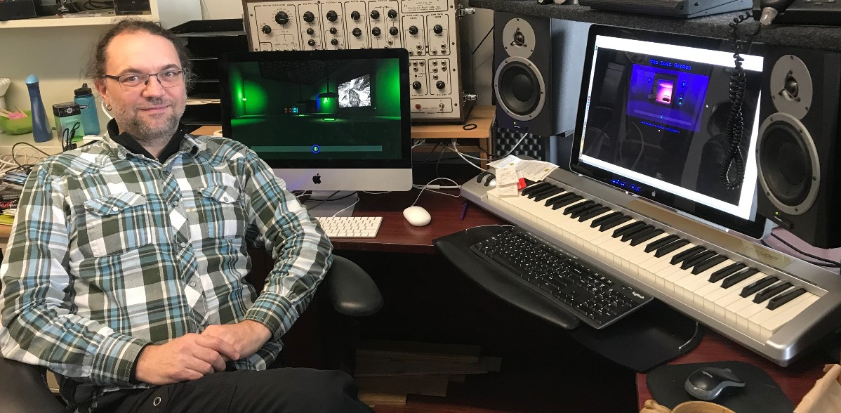 "U of A music professor Scott Smallwood used natural and urban sounds in his video game ""The Lost Garden,"" in which players solve sonic puzzles to find out what's happened to Earth in the future. (Photo: Supplied)"