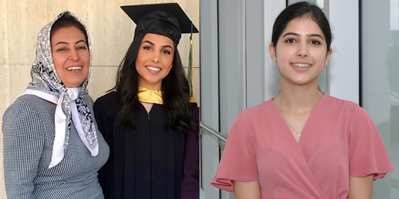 Recent graduate Sara Saadat and her sister Saba (right), an undergraduate science student, were coming back from Iran with their mother, Shekoufeh Choupannejad (left, pictured with Sara).