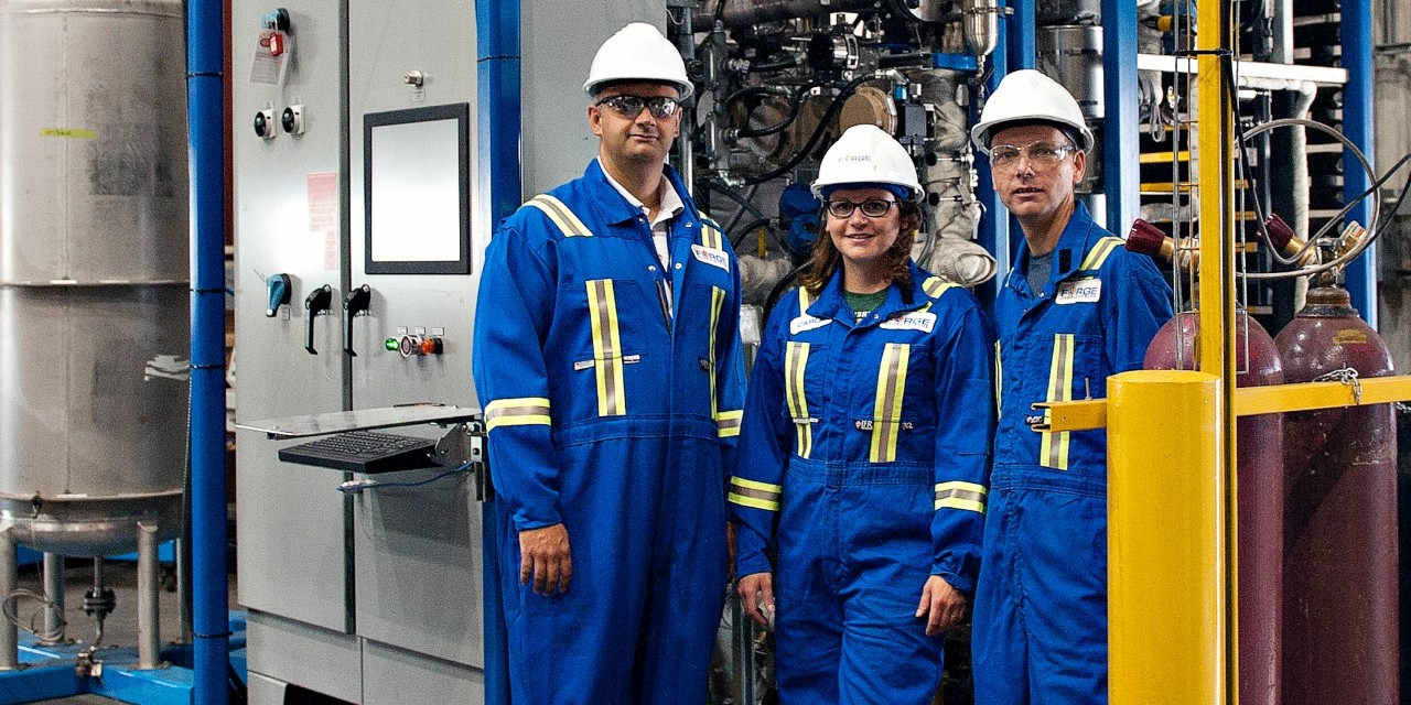 (From left) Bioresource scientist David Bressler with Forge Hydrocarbons project engineering manager Carla Brenner and project vice-president Neil Vanknotsenberg at the Advanced Energy Research Facility in Edmonton. Forge received a major investment from Shell Ventures to help build a commercial-scale facility that will produce more than 25 million litres of renewable biofuels each year. (Photo: TEC Edmonton)