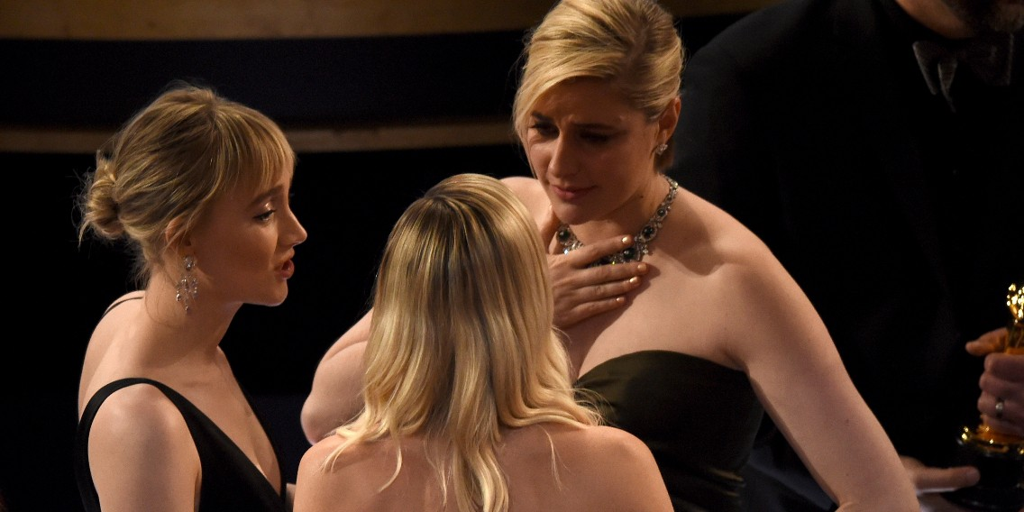 "(From left) Saoirse Ronan, Margot Robbie and Greta Gerwig are seen in the audience at the Oscars on Feb. 9, 2020, at the Dolby Theatre in Los Angeles. Gerwig was not nominated for best director for her adaptation of ""Little Women."" (Photo: AP/Chris Pizzello)"