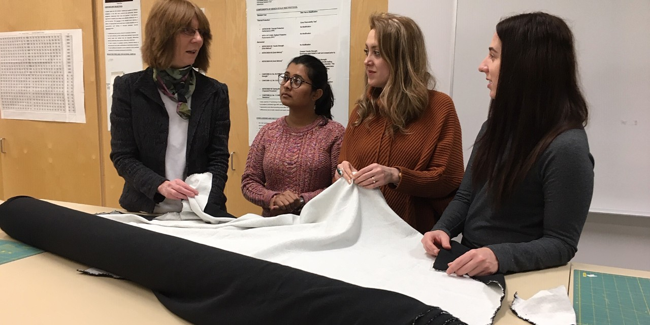 (From left) Textile scientists Patricia Dolez, Ankita Shroff and Mahsa Kalantari are working with entrepreneur Jess Black to create a durable fire-retardant fabric that can be used in women's workwear. (Photo: Bev Betkowski)