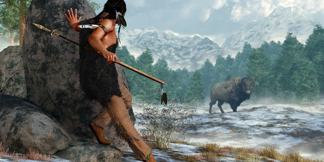Artist's rendering of an ancient Indigenous hunter carrying an atlatl and spear while stalking a bison in the Rocky Mountains. U of A archeologists analyzed samples of atlatls at a site in northern Oregon and found that small versions of the weapons were probably used to train very young children to use them proficiently. (Image: Getty)