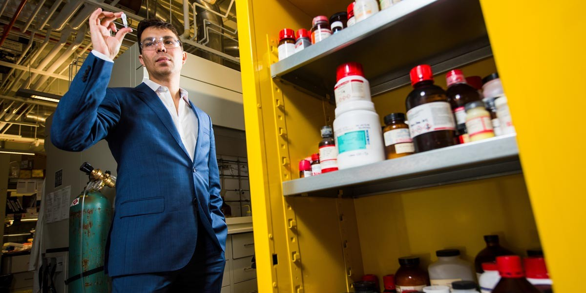 48Hour Discovery, a U of A spinoff company founded three years ago by chemist Ratmir Derda (pictured), is using its propriety technology to sift through billions of molecules in search of promising compounds that might be effective against COVID-19. (Photo: John Ulan)
