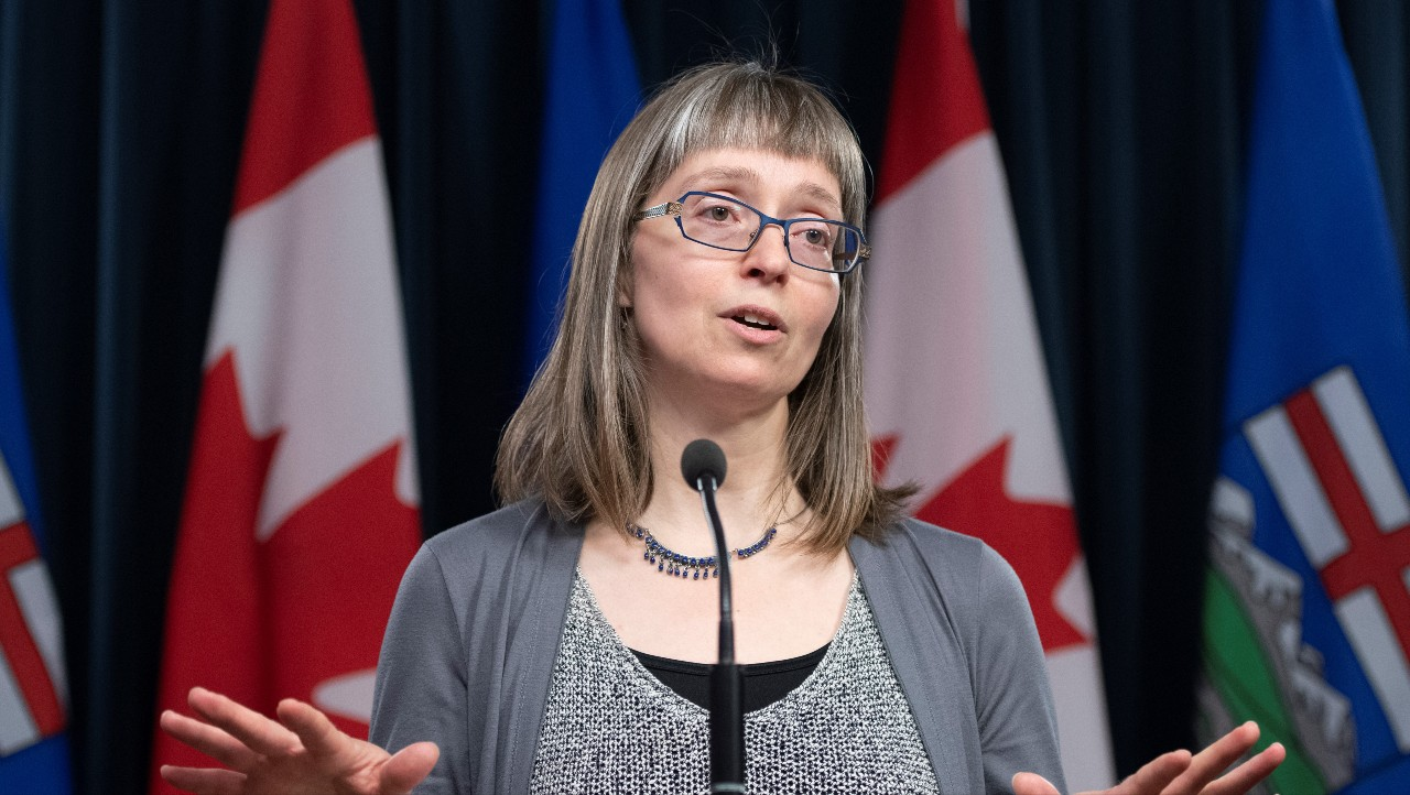 Deena Hinshaw has earned wide praise—and celebrity status—for her calm, reassuring tone in her daily media briefings. (Photo: Government of Alberta)