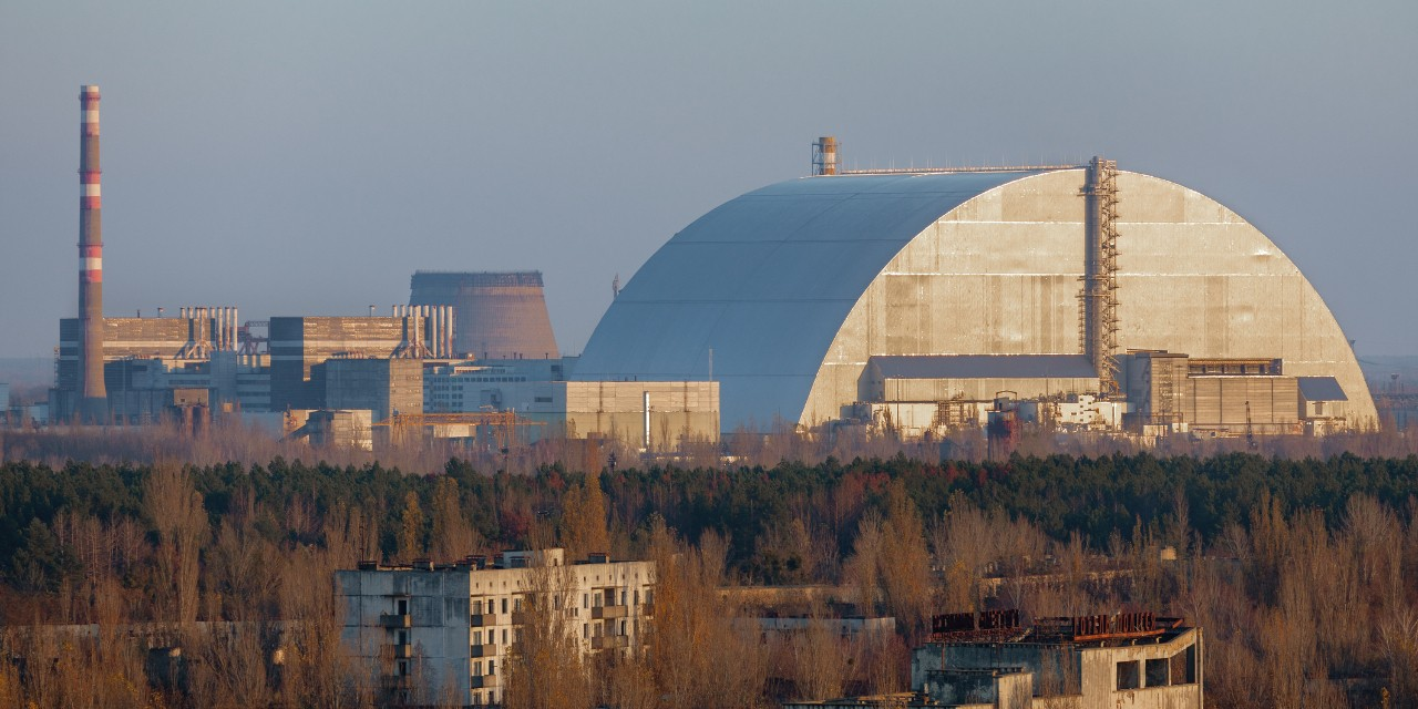 "The Chernobyl nuclear power plant in 2019, showing the massive domed structure called the ""sarcophagus"" that was built over the exploded No. 4 reactor to seal in radioactive waste for 100 years. (Photo: Getty Images)"