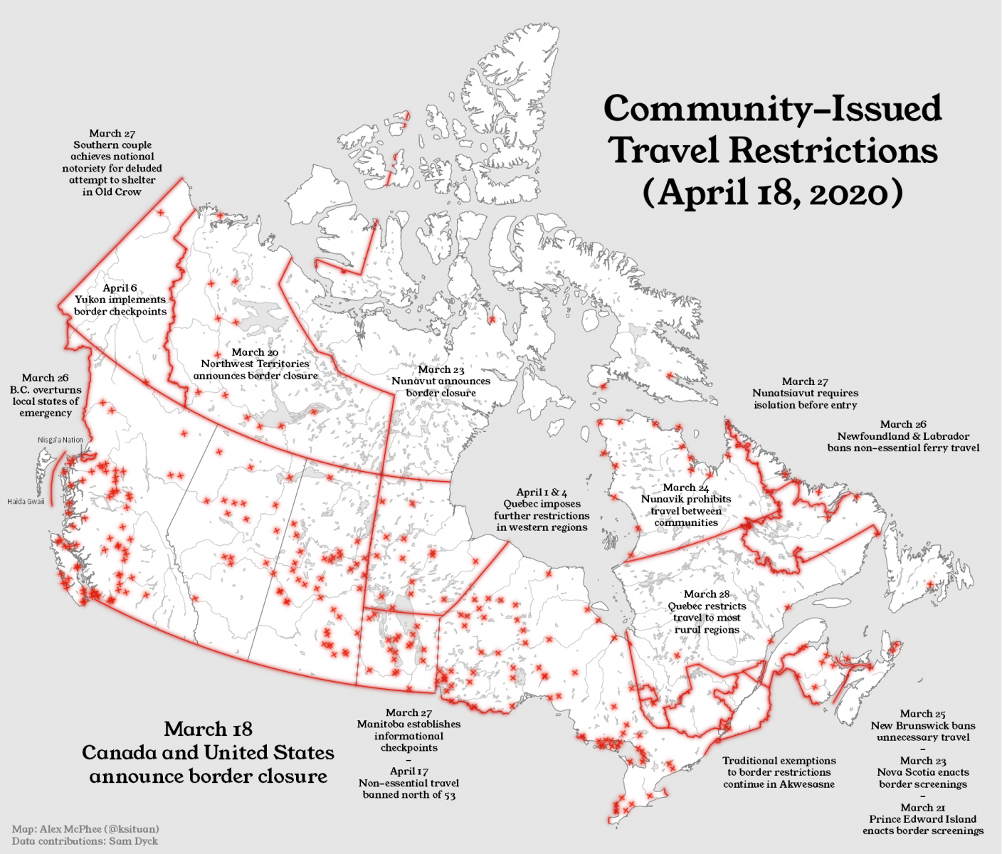 The map created by U of A undergraduate student Alex McPhee and political science alumnus Samuel Dyck shows closures and travel restrictions among Canada's remote communities. (Image: Supplied)