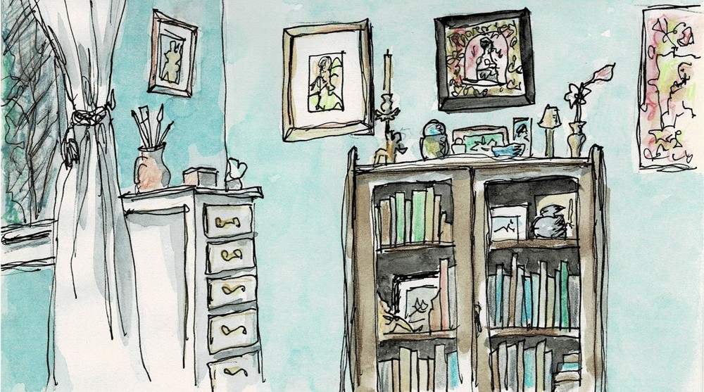 "The Stories of the Pandemic website includes this sketch by artist Marlena Wyman, entitled ""Corner of the Bedroom."" Wyman has been sketching a different room in her home each week as a way of staying in touch with her sketching group, which usually meets monthly. (Image: Marlena Wyman)"