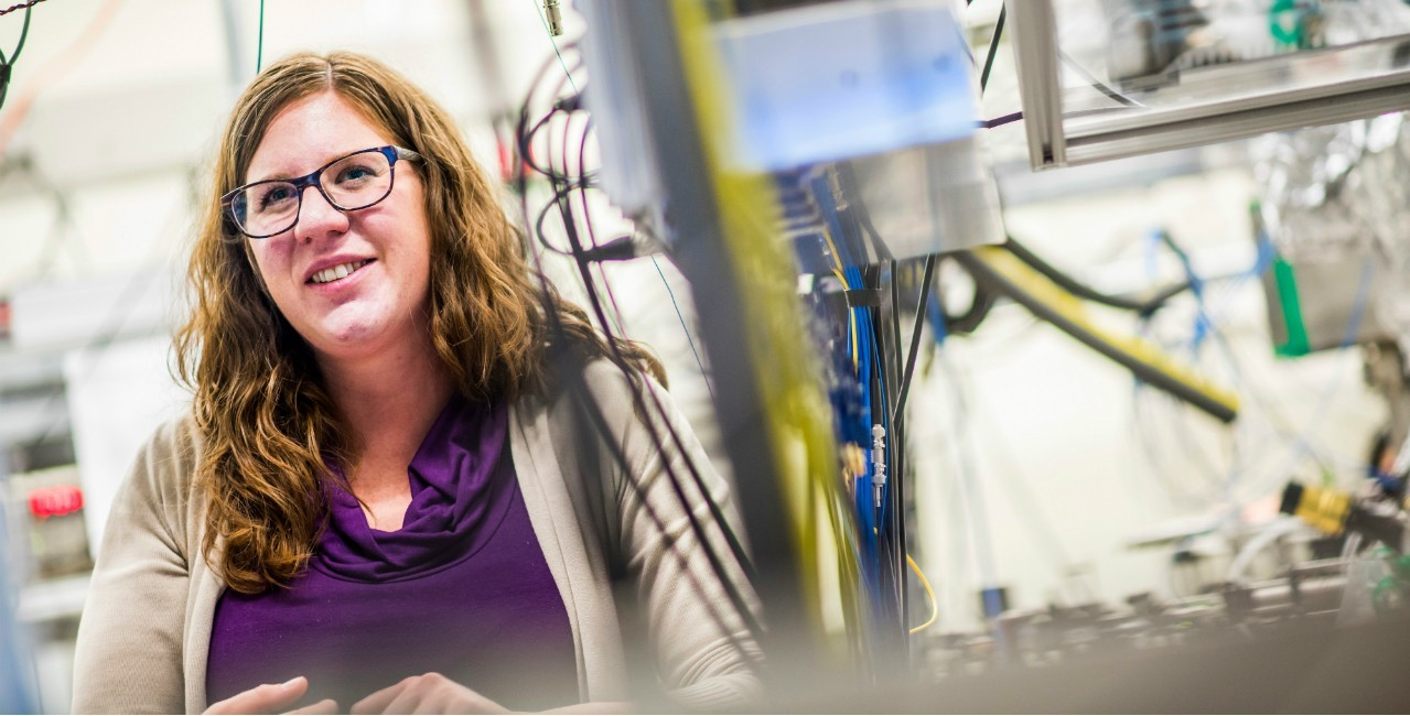 Physicist Lindsay LeBlanc was part of a U of A team that developed a technique to translate data from microwaves to optical light, which could have applications in quantum computing and fibre optics. (Photo: John Ulan)
