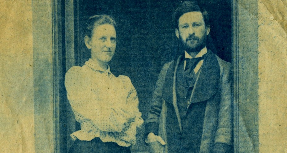 This family photo is likely of Jennie Stork (left) with Ethelbert Lincoln Hill in Ontario in the 1890s. The two were married in 1893, and both went on to earn master's degrees from the University of Alberta in 1911. (Photo: University of Toronto Archives, E. Marjorie Hill fonds, B1986-0106)