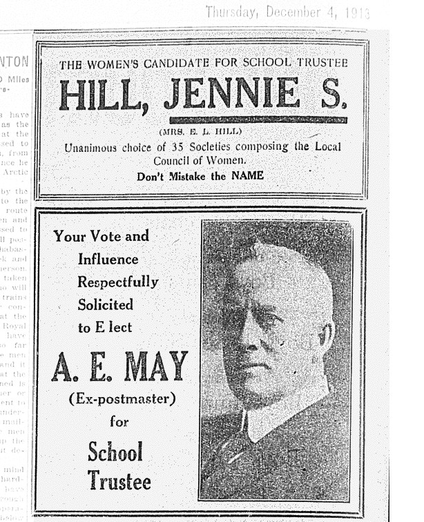 "A campaign ad for Jennie Stork Hill in the Edmonton Capital on Dec. 4, 1913, reminded voters, ""Don't Mistake the NAME"" after a ""Mrs. Alice Hill"" mysteriously appeared on the ballot—a deliberate attempt to confuse voters, Stork Hill contended. (Photo: Peel's Prairie Provinces)"