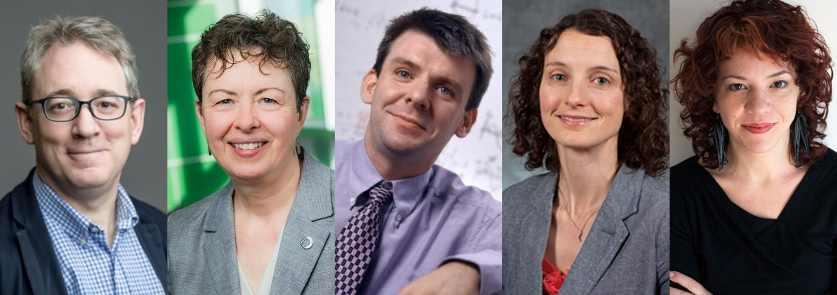 (From left) University of Alberta researchers Todd Lowary, Carole Estabrooks and Ian Mann were named fellows of the Royal Society of Canada, and Valerie Carson and Natalie Loveless were named to the society's College of New Scholars, Artists and Scientists.