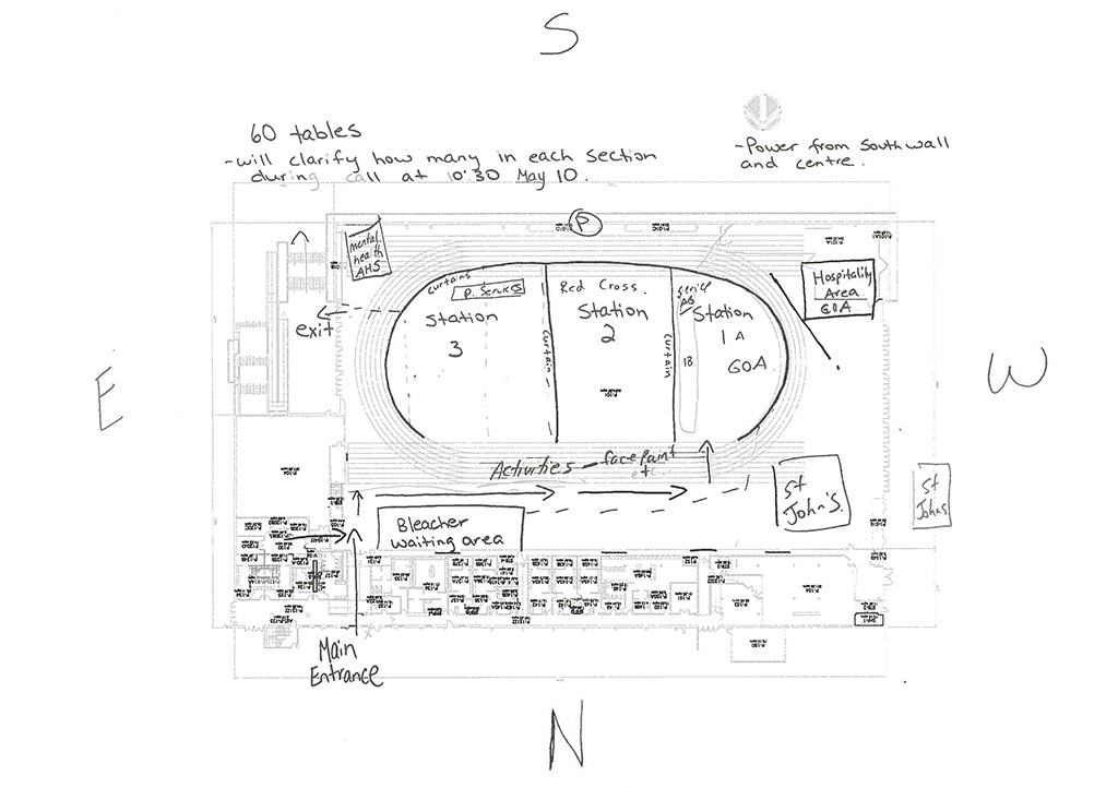 A hand-drawn floorplan for debit card distribution stations inside the Butterdome. (Courtesy- Christine Legault)