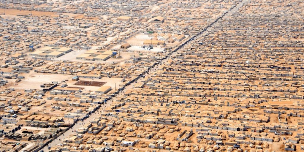 An aerial view of the Zaatari camp for displaced Syrians in Jordan (Photo: U.S. Department of State; licensed under public domain via Commons)