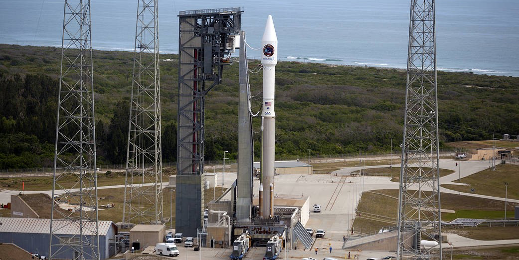 An Atlas V rocket carrying Ex-Alta 1, a cube satellite built by UAlberta students, stands ready for launch at Cape Canaveral April 18. The rocket successfully blasted off to the International Space Station at 11:11 EDT. (Photo: United Launch Alliance)