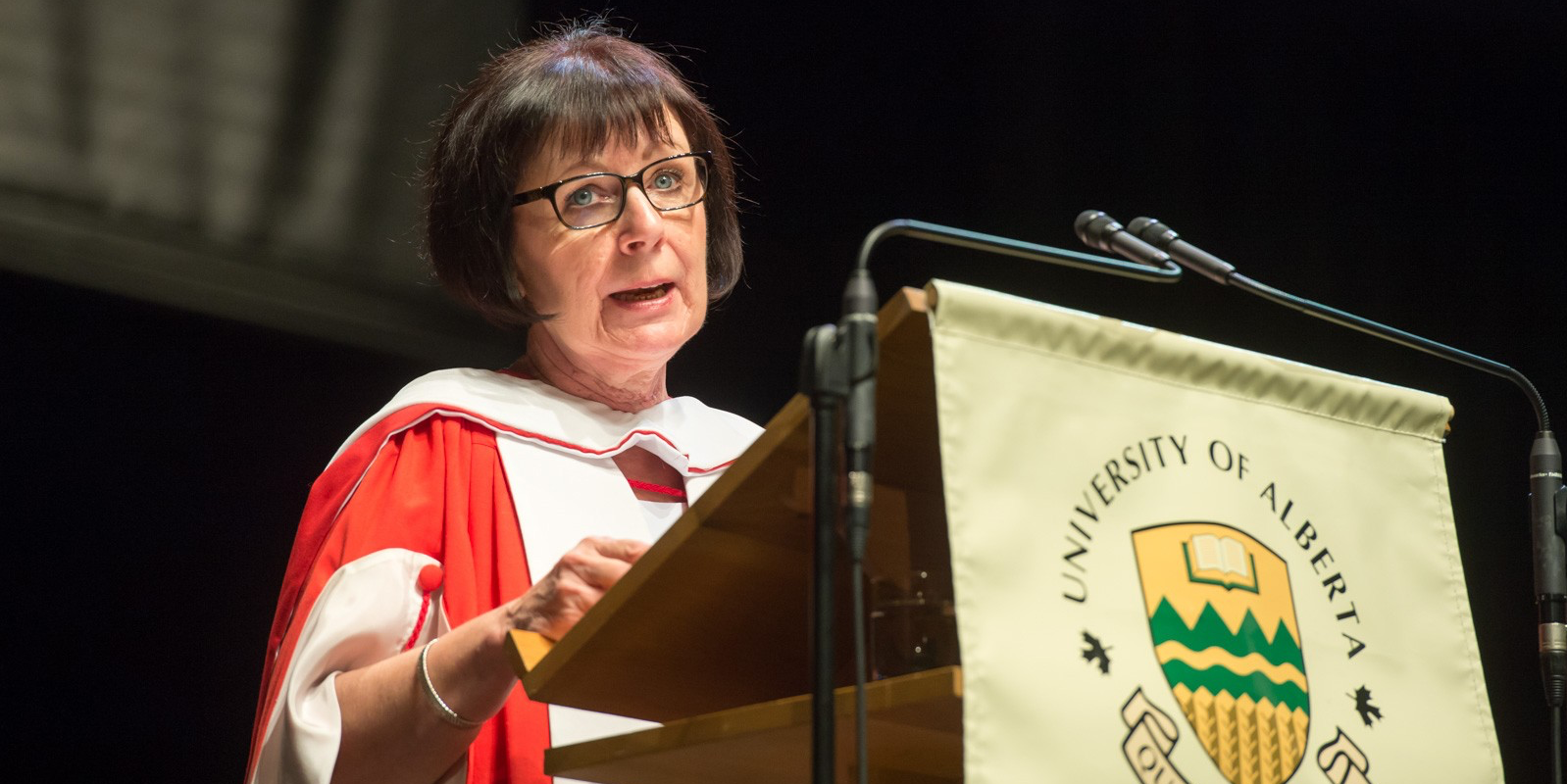 Anne Smith, president and CEO of the United Way of Alberta Capital Region, addresses science graduates after receiving an honorary Doctor of Laws degree on June 13. (Photo by Richard Siemens)
