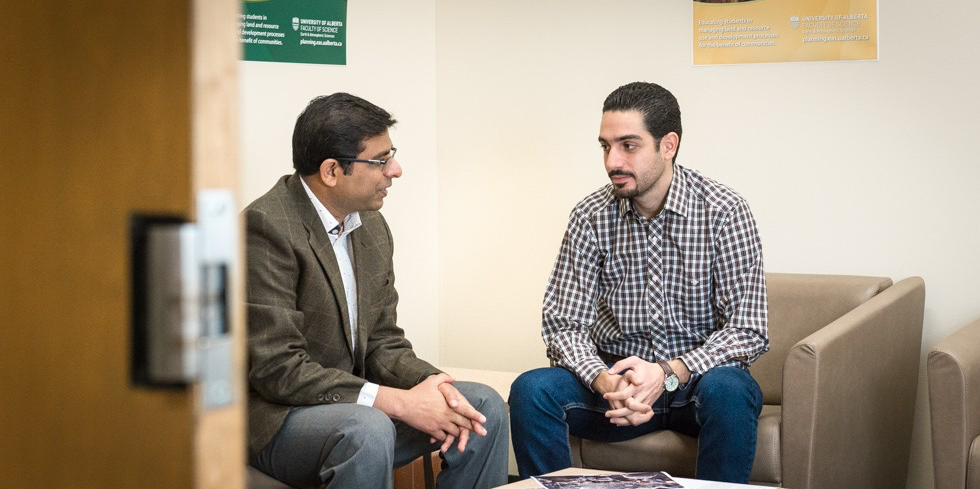 Aref Sayegh (right) and urban planning professor Sandeep Agrawal are working together on research aimed at improving the settlement process for Syrian refugees in Canada. (Photo: Richard Siemens)