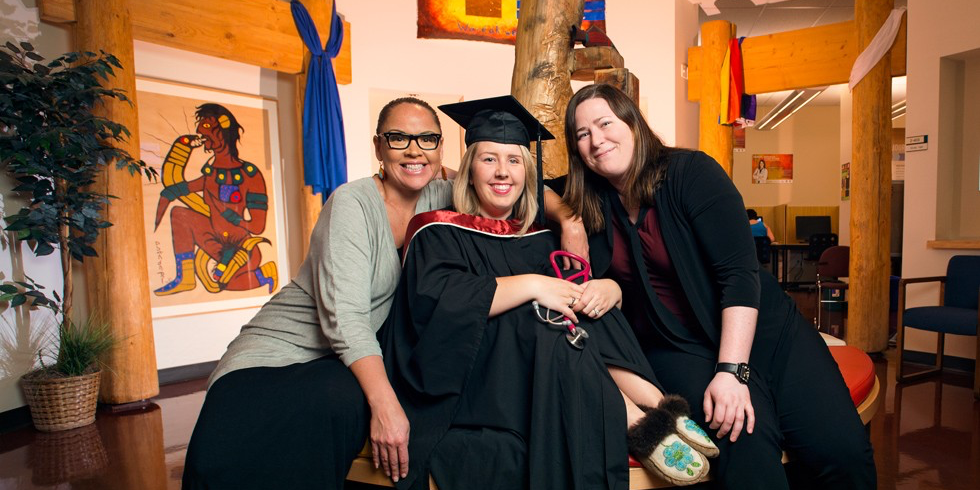 Ashley Deschambault (middle) credits Shana Dion (left) and Suzanne Butler for guiding and supporting her efforts to earn her nursing degree. (Photo: Richard Siemens)