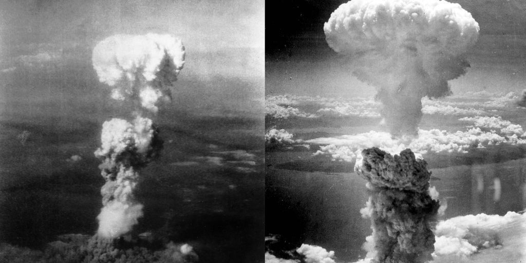 Atomic bomb blasts at Hiroshima (left) and Nagasaki, Japan (Photo: Wikimedia Commons, shared under Creative Commons licence)