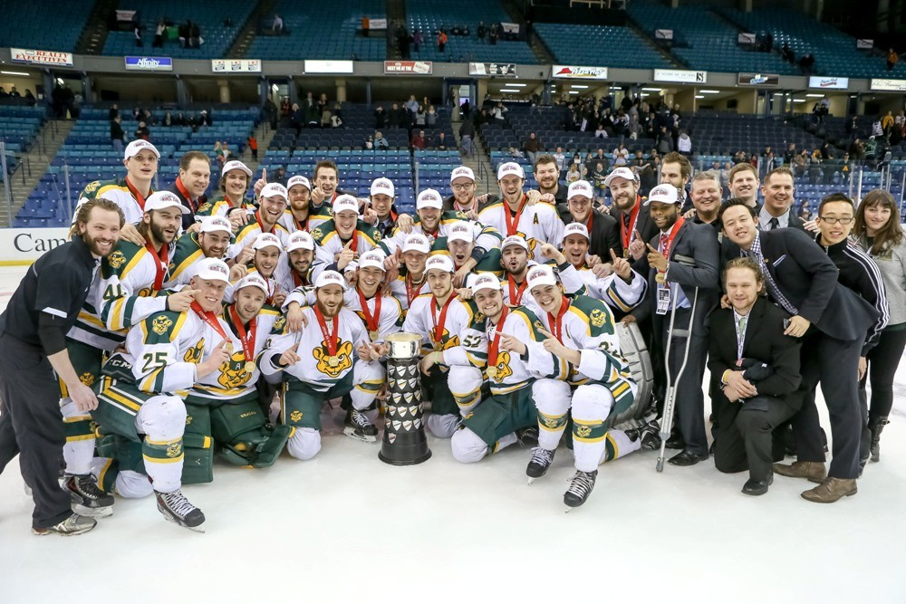 Golden Bears hockey won its record 14th national championship with a 3-1 win over the University of Saskatchewan Huskies in late March in Saskatoon. The U of A men's hockey program—the most successful program in the long history of Canadian university men's hockey—has played in a record 37 national championship tournaments and 19 gold-medal games.