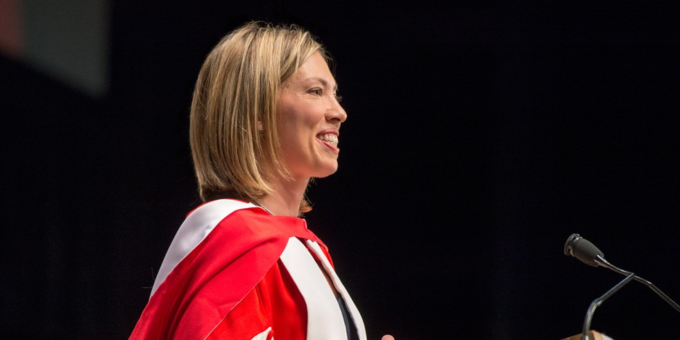 Beckie Scott delivers a heartfelt address to graduands after receiving her honorary doctor of laws degree June 4. (Photo: Richard Siemens)