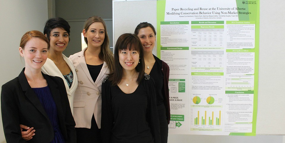 (From left) Katrina Bissonette, Tanishka Gupta, Alyssa Cumberland, Yuan Shi and Claire Doll found that paper consumption in two computer labs dropped by 8.5 per cent after they placed posters offering advice and social appeals about conserving paper.