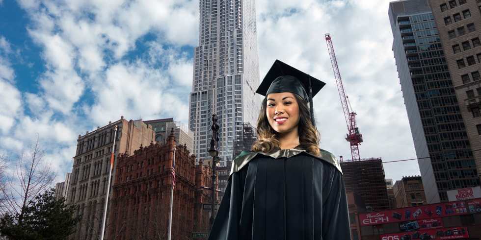 Business grad Rochelle Estoque is bound for the Big Apple after landing a lucrative job with a Canadian-based commercial real estate company in New York City. (Photo: Richard Siemens)