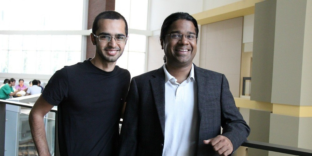 Cables designed by graduate student Saman Jahani (left) and electrical engineering professor Zubin Jacob are 10 times smaller than existing fibre optic cables—small enough to replace copper wiring still used on computer chips.