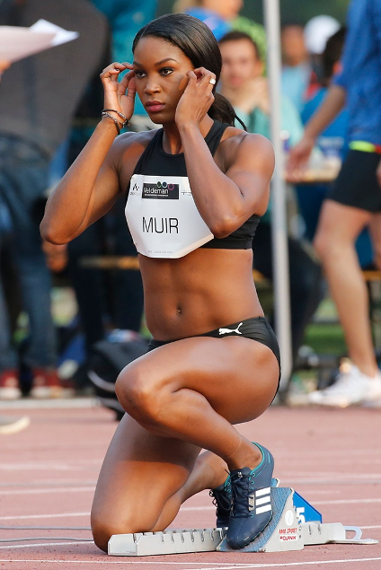 Carline Muir gets set for a race in the lead-up to the Rio Olympics.
