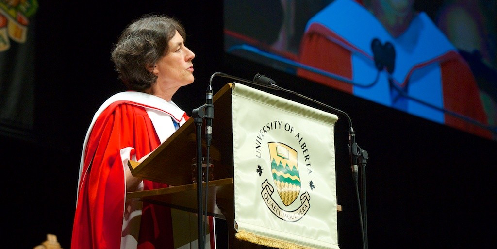 Chantal Hébert delivers her convocation address to graduands of the Faculty of Arts and Campus Saint-Jean June 10. (Photo: Richard Siemens)