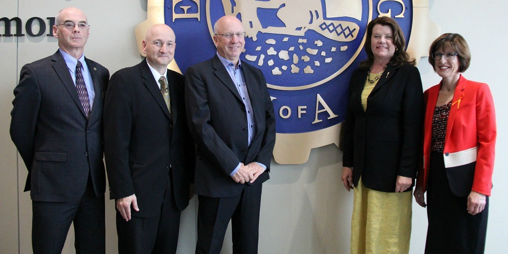 Greg Christenson (centre left) with Dean of Engineering Fraser Forbes, City Councillor Mike Nickel, Alberta Minister of Seniors and Housing Lori Sigurdson and UAlberta Vice-president (Advancement) Heather McCaw. Christenson is establishing a Professorship in Building Sustainable and Healthy Communities in the Department of Civil and Environmental Engineering.