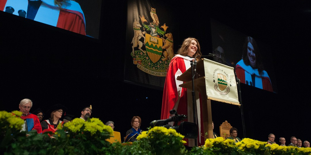 Clara Hughes addresses graduands after receiving her honorary doctor of laws degree Nov. 18. (Photo: Richard Siemens)