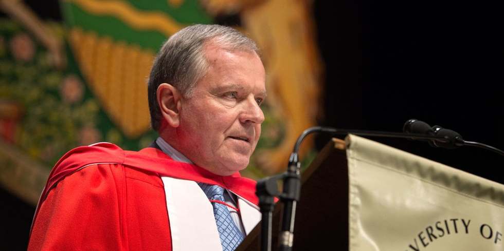 Dave Lede, chair and CEO of the Ledcor Group of Companies, addresses graduands after receiving his honorary doctor of laws degree during convocation June 5. (Photo: Richard Siemens)