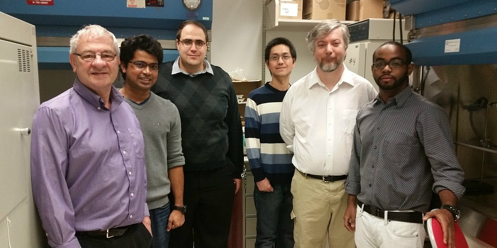 David Brindley (left) with his research team.