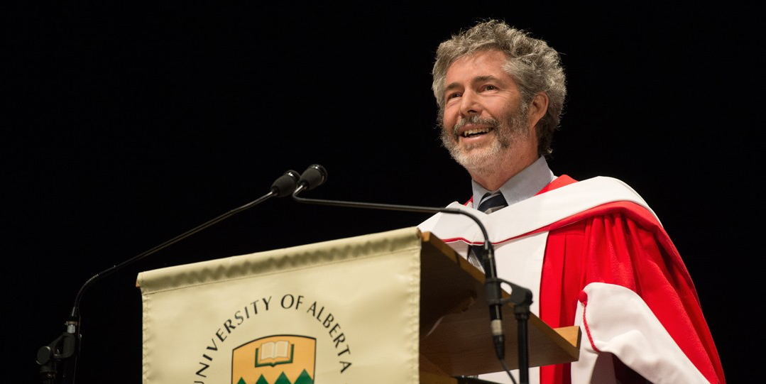 David R. Cheriton addresses the class of 2014 after receiving his honorary doctor of science degree Nov. 19. (Photo: Richard Siemens)