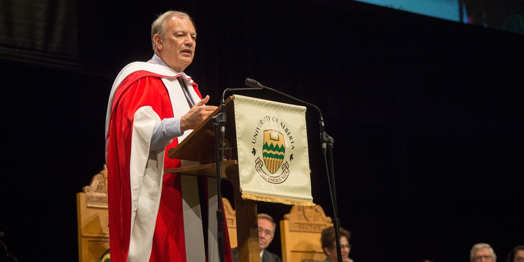 Dennis Slamon addresses graduands of the faculties of medicine and dentistry, rehabilitation medicine and public health after receiving his honorary doctor of science degree June 5. (Photo: Richard Siemens)