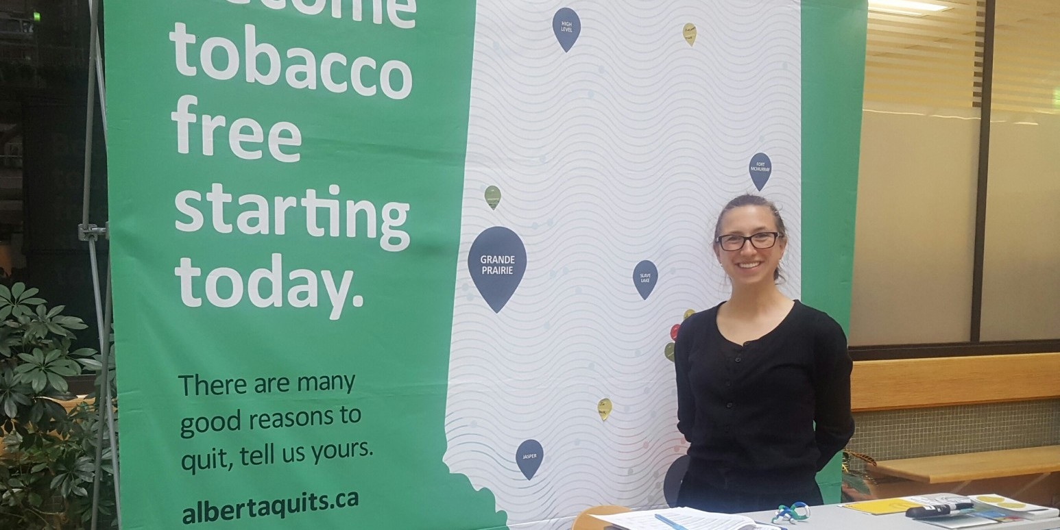 Dr. Finegan's summer research student Savanna increasing awareness on World No Tobacco Day.