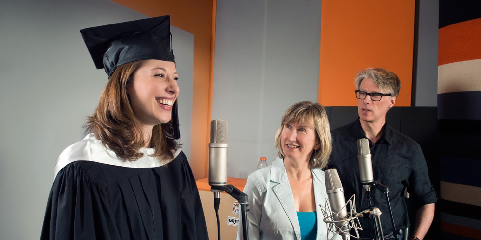 Elissa Weinzimmer in the studio with her professors and mentors, Betty Moulton and David Ley. (Photo: Richard Siemens)