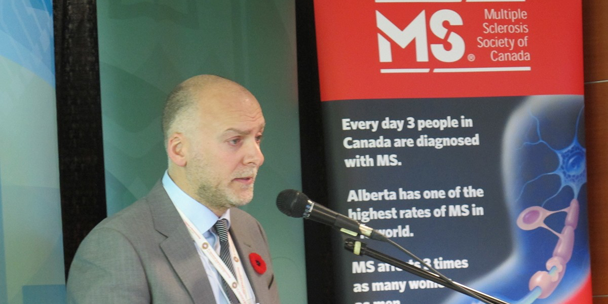 Fabrizio Giuliani speaks at the Nov. 5 announcement of the Multiple Sclerosis Experimental Therapeutics Program at UAlberta, supported by $1.4 million from Biogen Idec and the Alberta government.