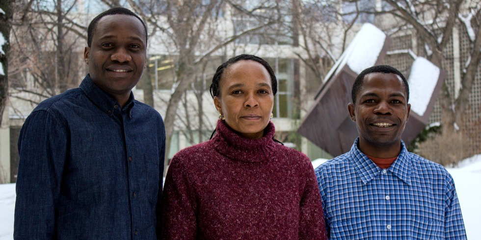 (From left) Calvin Swai, Ratera Mayar and Emmanuel Deogratias are earning their PhDs at UAlberta as part of an innovative project to improve mathematics education for students and teachers in Tanzania.