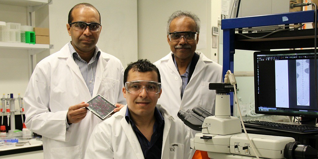(From left) Faheem Khan, Hashem Etayash and Thomas Thundat designed a device capable of detecting specific bacteria, then determining which drugs they are most susceptible to. (Photo: Faculty of Engineering)