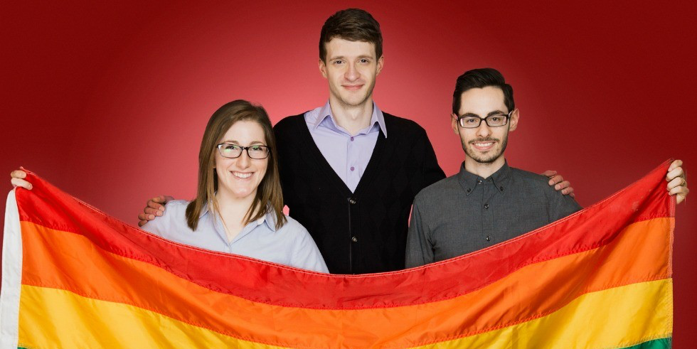 (From left) Medical students Jocelyn Andruko, Ian Armstrong and Jordan Iannuzzi are proud winners of the Community Leader Award for their volunteer work with the Sexual Orientation & Gender Identity Advocacy Committee. (Photo: Richard Siemens)