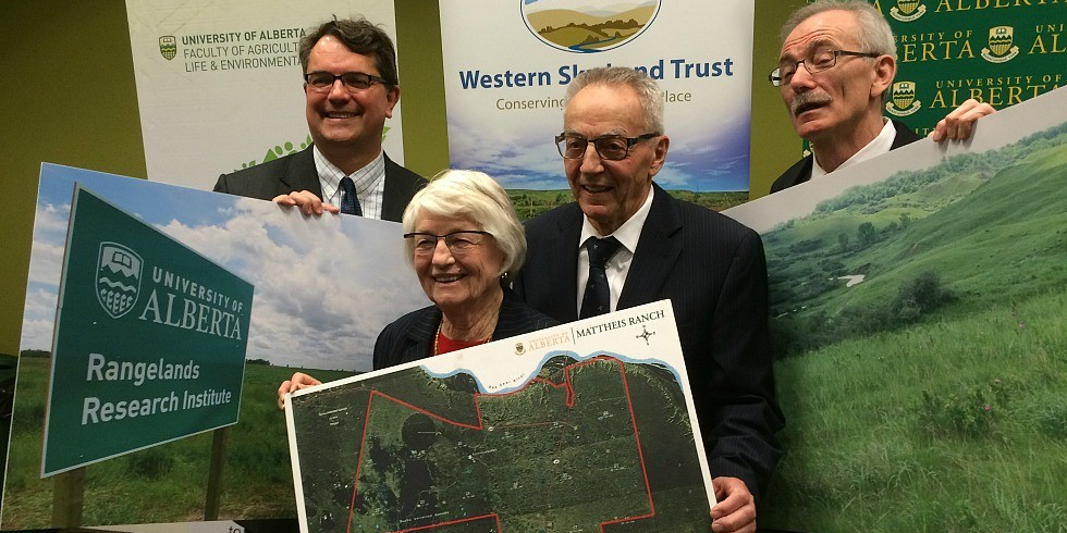 (From left) Stan Blade, dean of the Faculty of ALES; Ruth and Edwin Mattheis, who donated their ranch to the university in 2010; and Jerry Brunen, executive director of Western Sky Land Trust.