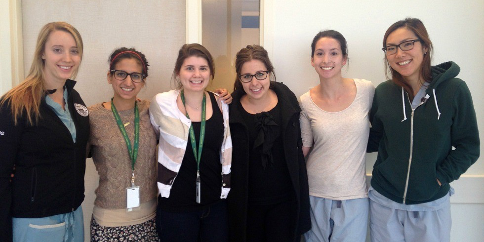 (From left): UAlberta medical residents Alicia Long, Fahrin Rawji, Amanda O'Reilly, Arielle Cantor, Allison Edwards and Helen Yang. Not pictured are Ginevra Mills and Priscilla Frenette.